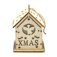 Cute Hanging Christmas houses Tree decoration Wooden flickering lights ornaments