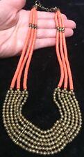Orange bronze bead multi strand tribal boho necklace