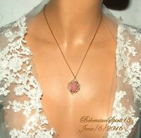 VINTAGE ART DECO CZECH GLASS PINK ROSE CAMEO BRASS CHAIN PENDANT NECKLACE