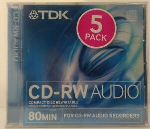 TDK CD-RW80 / CD-RWXG80JCA Audio Music 80 Min 5 x Pack CD RW RE-WRITABLE Discs