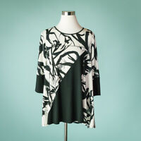 Comfy USA Size XS Top Tunic Abstract Floral Print Swing A Line Black White 3/4