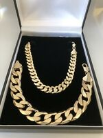 Boys Kids Womens 18k Solid Gold Filled Curb Chain Necklace Bracelet  Sets 18ct