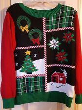 Ugly Christmas Black & Red Sweater Light Up Adult Size Large