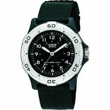 Lorus Youth Military Style Canvas Strap Watch Black Dial RRS61NX9