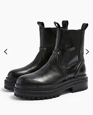 NEW TOPSHOP REAL LEATHER BLACK ARGAN CHUNKY CHELSEA BOOTS SIZE 7 EUR 40