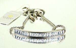 KENDRA SCOTT Jack Rhodium Plated Lilac Crystal Adjastable Slide Bracelet