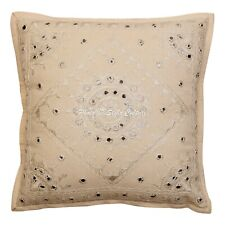 """Decorative Cotton Pillow Cover Bohemian 16"""" Embroidered Mirrored Cushion Cover"""