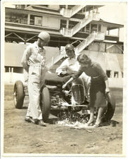 Olympe Bradna christens Indy 500 car with Floyd Roberts, Lou Moore 1930s photo
