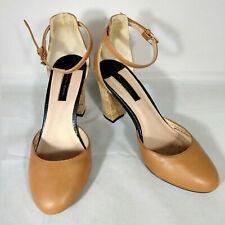 "Dorothy Perkins 3.5"" Cork Heels Tan Ankle Strap Leather Upper Size 5"