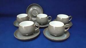 DENBY GREYSTONE TEA CUPS X 5 & SAUCERS X 6  - EXCELLENT & UNUSED
