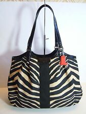 NWT Coach 24022 Signature Stripe Zebra Print Devin Shoulder bag SV/Black/Black