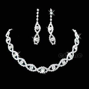 Silver Crystal Diamente Sparkling Rhinestone Bridesmaid Necklace Earring Set UK