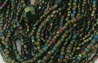 Green Carnival Glass Antique Vintage Multi Strand Boho Necklace