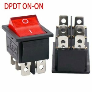 1x Switch Plastic Rocker Switch W/RED Neon Lamp DPDT Contact DPDT ON-ON