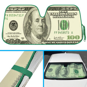 Clever $100 Dollar Bill Auto Sunshade for Car Truck SUV Windshield UV Protection