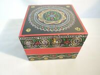 Large Wood Box Hand Painted Mandala Multi Color Design Hinged Lid Made in India