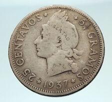 1937 DOMINICAN REPUBLIC Silver Liberty LIBERTO Arms Antique Silver Coin i74527