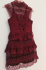 Chaconia Dolls Women Ruffled Lace Dress Color Burgundy