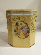 Tin Canister Antebellum Pretty Southern Belle motif hinged lid