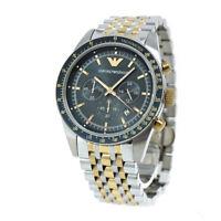 Emporio Armani AR6088 Chronograph Navy Blue Dial Silver & Gold Tone Men's Watch