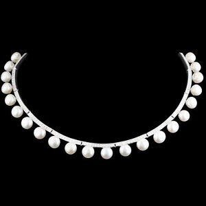 UNHEATED NATURAL 7MM FRESHWATER PEARL & WHITE CZ SILVER 925 NECKLACE 13.5-15.4IN