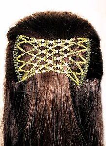 Womens Green Diamonds Easy Magic Beads Double Hair Grip EZ Comb Clip Stretchy