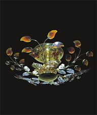 """New! GOLD Ceiling SEMI-FLUSH Mount BLACK AND PINK CRYSTAL (D24"""" x H6"""") 6 Light"""