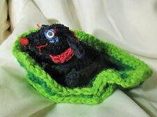 BLACK LAB DOG DOLL ooak folk art crocheted plush soft crochet mini small bed red