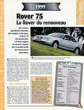 FICHE TECHNIQUE VOITURE ROVER 75 1999 VÉHICULE COLLECTION AUTO