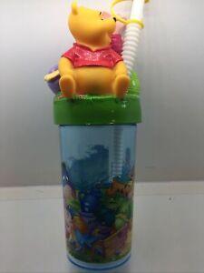 "Vtg Disney Winnie the Pooh Bear Travel Water Bottle Tumbler Drink Cup 9."" Tall"