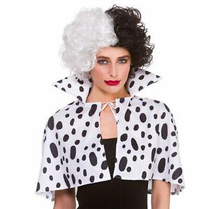 Dalmatian Print Cape Cruella 101 Collar Adults Halloween Fancy Dress