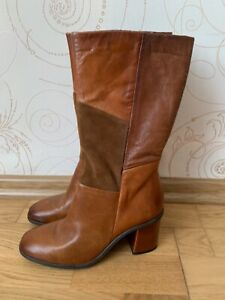 MJUS Women's Brown Boots Patchwork Leather  Suede Shoes Size US 7 EU 38