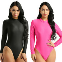 Women Ladies Bodysuit Leotard Stand Collar Long Sleeve Body Top T shirt Jumpsuit
