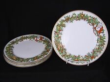 "4 Fitz & Floyd St Nicholas 10.25"" Dinner Plates Christmas China 1978 Signed"
