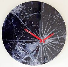 NEW 43cm Large Nextime Smashed Glass Wall Clock - Modern Black Unique Gift