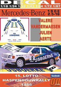 DECAL MERCEDES BENZ 190 E 2.3 16V V.VANDERMAESEN HASPENGOUWRALLY 1986 DnF (06)