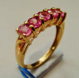9ct Gold Five Stone Pink Topaz Ring U.K Size L Hallmarked