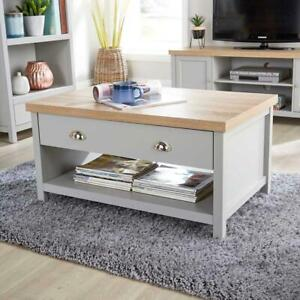 Grey Oak Coffee Table 2 Drawer Occasional Reception Table Metal Handles Avon