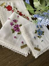 Vintage Floral Embroidered Lace Swiss Cotton Ladies Handkerchiefs Nwt Set Of 3