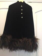 Exquisite Designer Vintage Velvet Black Ostrich Feather & Rhinestone button Cape