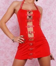 Red Lingerie Bodycon Mini Dress Front Fastening Adjustable Halter Club 2295