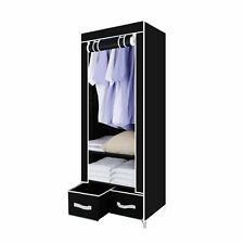 Fabric Single Canvas Wardrobe Clothes Cupboard With Drawer Hanging Rail Storage