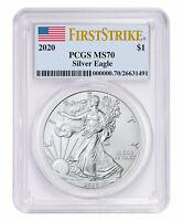 2020 1 oz American Silver Eagle $1 Coin PCGS MS70 FS Flag Label SKU59494