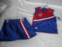 2019 LICENSED KU Kansas University JayHawks 2 PIECE CHEERLEADER UNIFORM 2T-5T