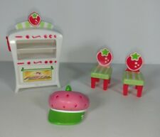 Strawberry Shortcake Berry Cafe Dollhouse Furniture Oven Chairs Hat Lot of 4