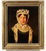 19th century American School Oil on Canvas Portrait Painting of A Lady