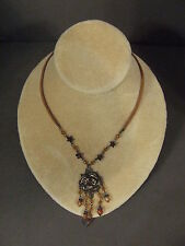 VINTAGE SUEDE STRAP FLOWER NECKLACE WITH GOLD TONE ROSE PENDANT & AMBER BEADS