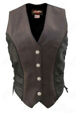 XL - Womens Braided Black-Brown Leather Vest Genuine Mercury Dime, USA Made