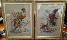 2 CROSS STITCHED GAME BIRD GOLD-FRAMED PICTURES  ~ 1970s ~ Columbia-Minerva