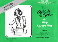 "1973 UNCUT Stretch & Sew Master Sewing Pattern # 608 ""Ladies' Wrap Sweater Vest"""
